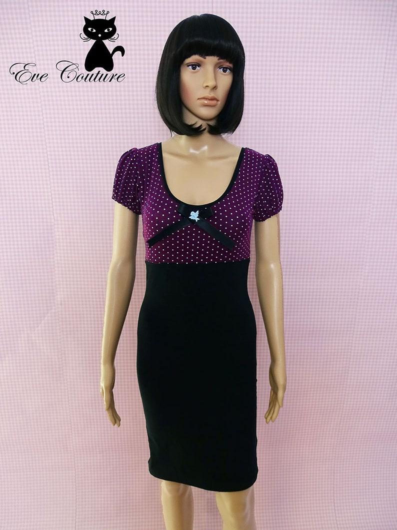 Dress Dottie Rockabilly Vintage Retro Rockabella PinUp Polka Dots lilac black white Bow