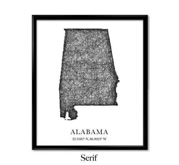 Mapa Alabama Dlugosc Szerokosc Geograficzna Mapy Miasta Etsy
