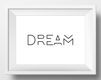 Dream, Home Decor, Minimalist Poster, Black and White, Art Print, Minimal Design, Retro Wall Prints, Digital Art