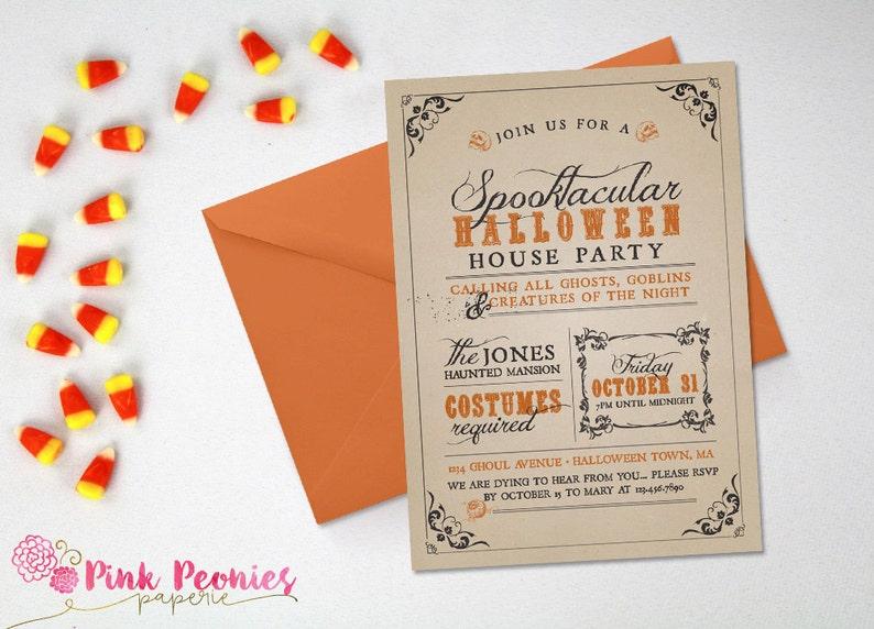 Halloween Party Invitation Custom Costume Adult
