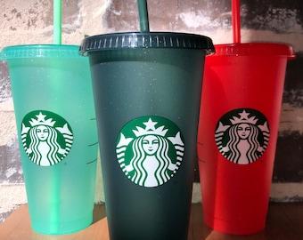 Starbucks 2020 Christmas Cold Cup - Reusable Venti Tumbler with Lid and Straw - Seasonal Glitter Starbucks Cup - Starbucks Holiday Cups