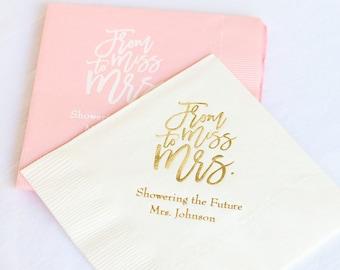 Miss to Mrs - Bride to Be - Bridal Shower Napkins - Personalized Napkins - Personalized Wedding Decorations - Custom Wedding Napkins