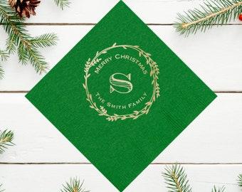 Merry Christmas - Holiday Napkins - Personalized Napkins - Personalized Christmas Decorations - Custom Holiday Napkins
