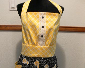 Women's full apron, retro inspired, cute apron, size large