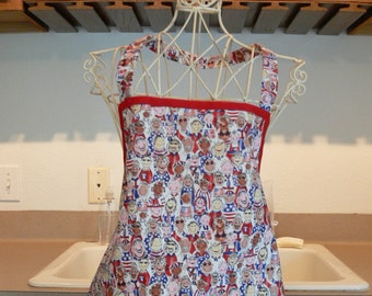 Children All Around the World - Patriotic Full Apron - Red, White, and Blue - Flags