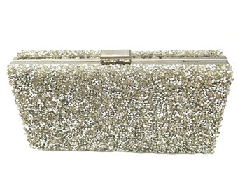 Glitter Rhinestone Hard Case Silver Evening Clutch Handbag with Detachable  Chain-Bridal clutch-Formal Accessory-Prom bag a3adaac304101