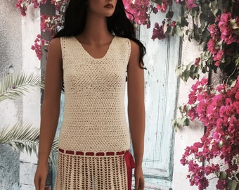 White Crochet Dress, Hand Made, Exclusive Design, with Different Color Laces, Original Dress, Special Occasion Dress, Party Dress.