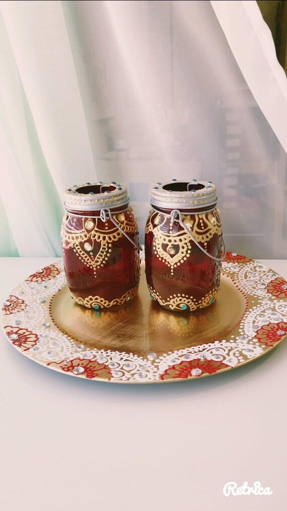 Henna Mason Jars Henna Plate Henna Lanterns Set Henna Etsy