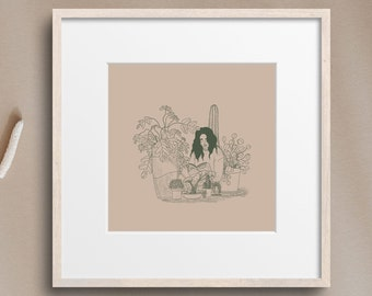 The Girl With the Words (6x6 ART PRINT)