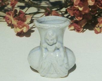 Vintage Miniature Porcelain Relief Vase Japan Collectible Knick Knack