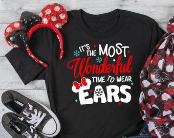 dccf54ead Disney Christmas Shirt Black It's the Most Wonderful Time to Wear Ears  Bella+Canvas Unisex, Youth, Toddler
