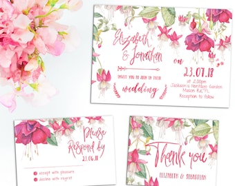 Printed Card - Digital Printable Files - Colorful Pink Watercolor Flowers Spring Wedding Invitation RSVP Set Wedding Stationery ID699
