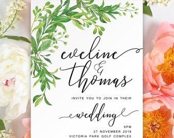 Digital Printable Files - Green Leaves Floral Watercolor Flower Wedding Invitation and RSVP Set Modern Botanical Wedding ID865
