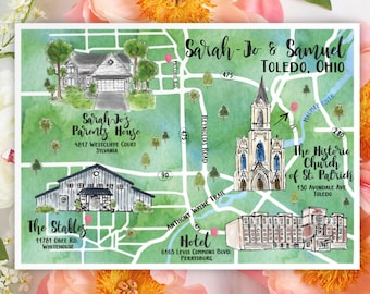 Watercolor Wedding Map Drawing Wedding Map Custom Wedding Map Custom Illustration Wedding Map Watercolor Map Home Town Vacation Church Hotel