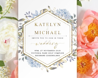 Digital Printable Files - GOLD BLUE Floral Watercolor Flower Geometric Wedding Invitation and RSVP Card Set Modern Botanical Wedding ID860