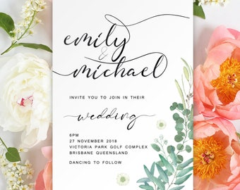 Digital Printable Files - Green Leaves Floral Watercolor Flower Wedding Invitation and RSVP Set Modern Botanical Wedding ID867