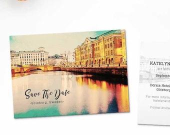 Digital Printable Set Save the Date Postcard Destination Wedding Göteborg Sweden Gothenburg Watercolor Wedding Invitation Map Card ID838