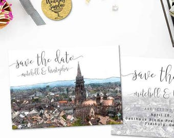 Digital Printable Set Save the Date Postcard Destination Wedding Freiburg Germany Europe Watercolor Wedding Invitation Map Card ID853