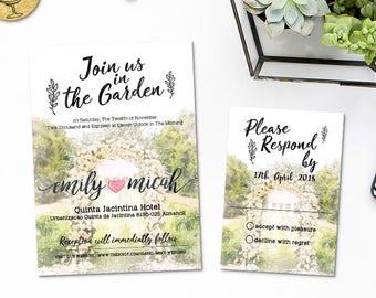 Digital Printable Invitation Set Files - Outdoor Wedding Arch Romantic Backyard Wedding Watercolor Invites Garden Wedding ID797