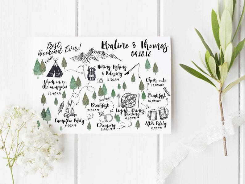 Custom Wedding Itinerary Order of Events Printable Wedding Timeline Wedding Weekend Itinerary Big Day Guest Timeline Schedule Bridal Party 2