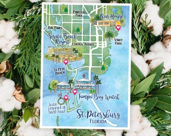 Watercolor Wedding Map ST. PETERSBURG FLORIDA Custom Wedding Map Custom Illustration Wedding Watercolor Map Home Town Vacation Church Hotel