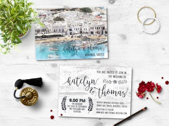 Digital Printable Files Destination Wedding Beach NAPLES ITALY NAPOLI Watercolor Painting Wedding Invitation Reply Card Set Wedding ID716