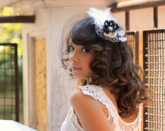 Black & White fascinator with birdcage veil for brides, mother of the bride and guests