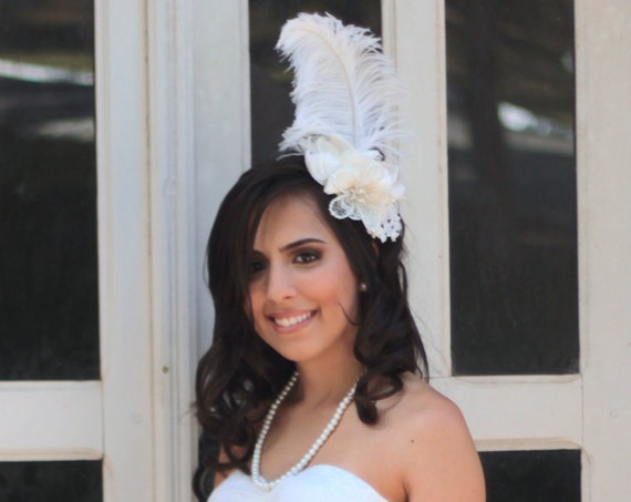 Victorian style floral feather fascinator with wired pearl flower accent