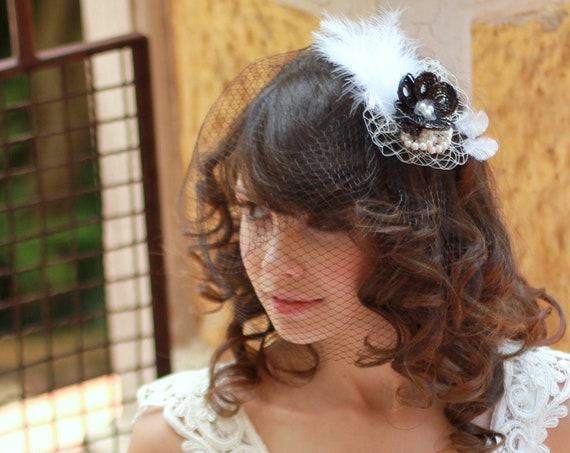 Black and White fascinator with birdcage veil for brides, mother of the bride and guests