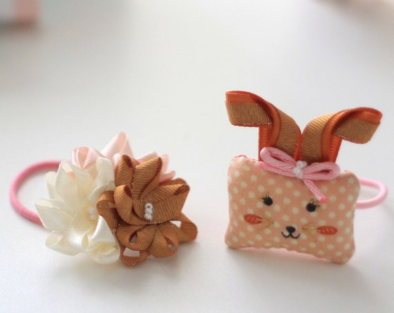 Ready to Ship! Pair of Funny day by day girls hair elastic