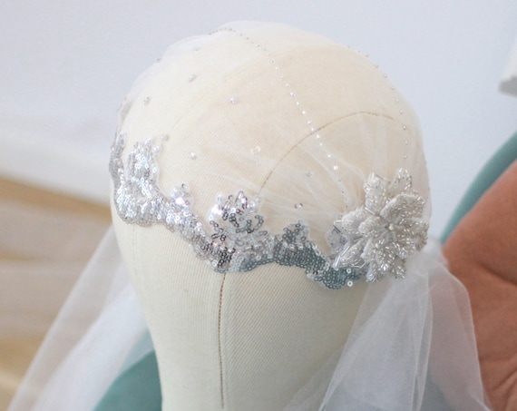 Silver Glass Beaded Art Deco Juliet Cap Veil