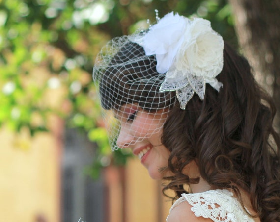 Romantic bridal floral comb with birdcage veil