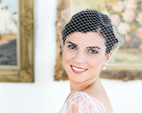 Basic birdcage veil for a minimalist bridal look