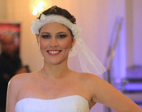 Pearl embroidery white tulle veil headband with 3D silk flowers