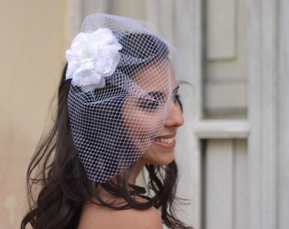 Minimalist bridal birdcage veil with lace camellia flower hair clip