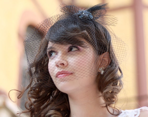 Black fascinator with birdcage veil for brides, mother-of-the-bride and guests
