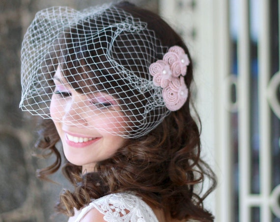 Modern beaded flowers set with Bandeau birdcage veil