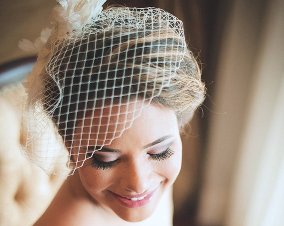 Bridal lace rose flower fascinator with birdcage veil
