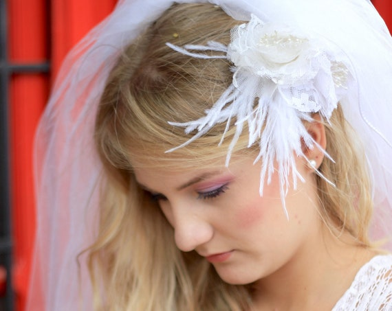 Lace and feathers floral headpiece