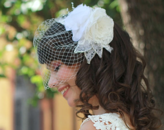 Romantic bridal floral comb and birdcage veil