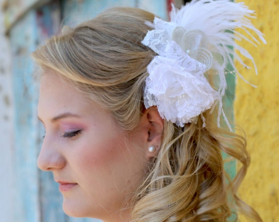 Bridal fascinator, Lace and feathers headpiece, Wedding flower adornment, Bridal beaded flower piece, Floral hair piece, #StyleMaJosephine17