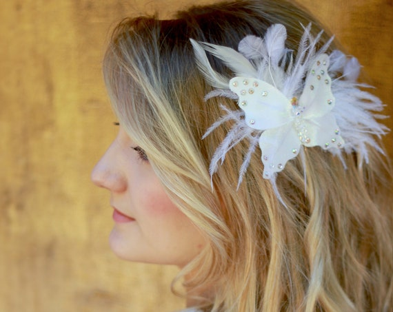 Butterfly wedding headpiece with feather
