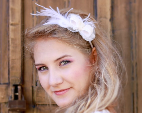 Bridal headband, Velvet and feather headpiece, Bow adorned headpiece, Wedding fascinator, Fascinator races cocktail #StyleMaJosephine12
