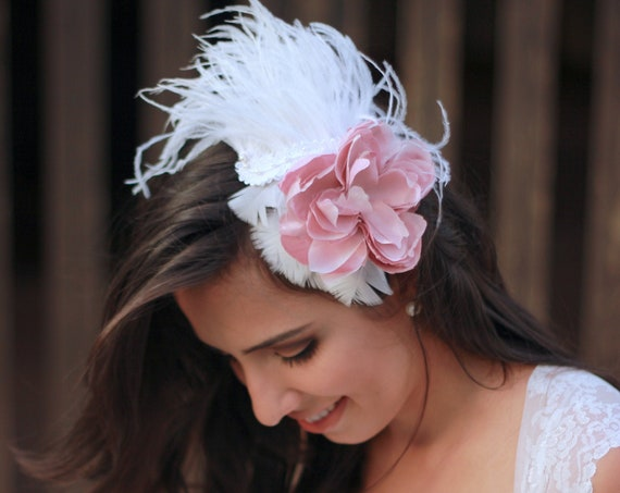 1920s inspired floral feather fascinator for brides and divas Victorian style
