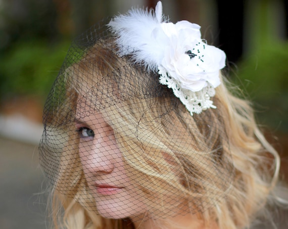 Bridal birdcage veil fascinator, Lace and feathers fascinator with veil, Wedding lace mini hat, Ladies Tea Party Hat, #StyleMaJosephine04