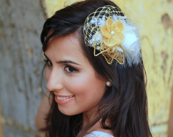 Floral headpiece with feathers for special events