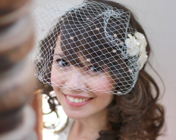 Polka dot birdcage veil with flower hair pins set