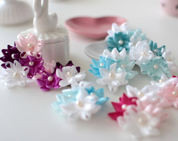 Ready to Ship! Pair of cute satin hair clip for little girl