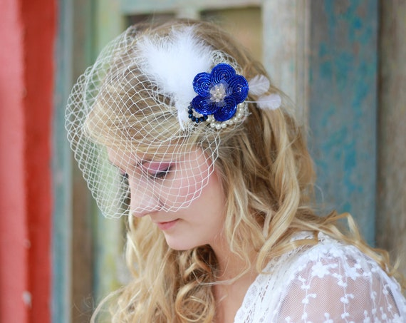 Bandeau veil Bridal birdcage veil with feather fascinator Wedding veil Floral headpiece Something blue hair piece Russian veil MA02