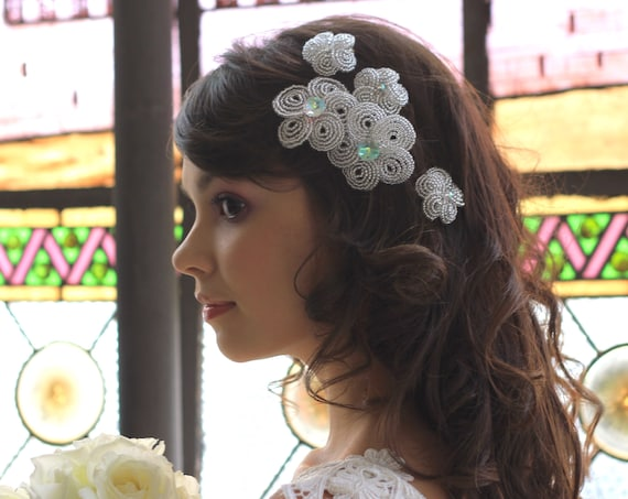 5 Hair flower clip set for brides, bridesmaids and divas